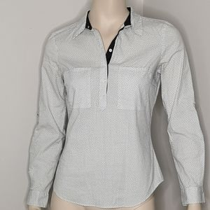 Zara Basic 1/2 Button Pullover Fitted Shirt